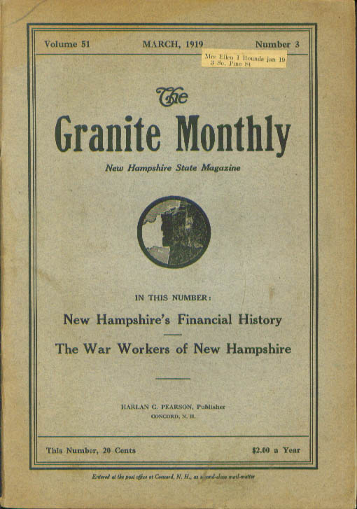 GRANITE MONTHLY New Hampshire World War Workers 3 1919