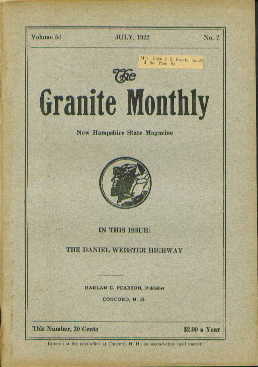 GRANITE MONTHLY New Hampshire State Daniel Webster Highway George B Upham 7 1922