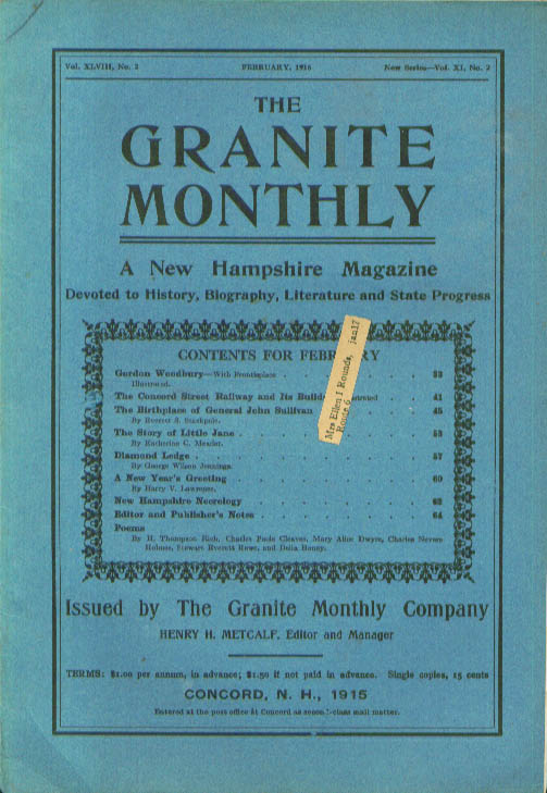 GRANITE MONTHLY New Hampshire Gordon Woodbury Concord Street Railway 2 1916