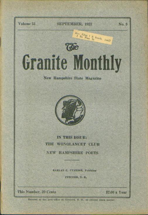 GRANITE MONTHLY Wonolancet Club Mt Moosilauke New Hampshire 9 1921