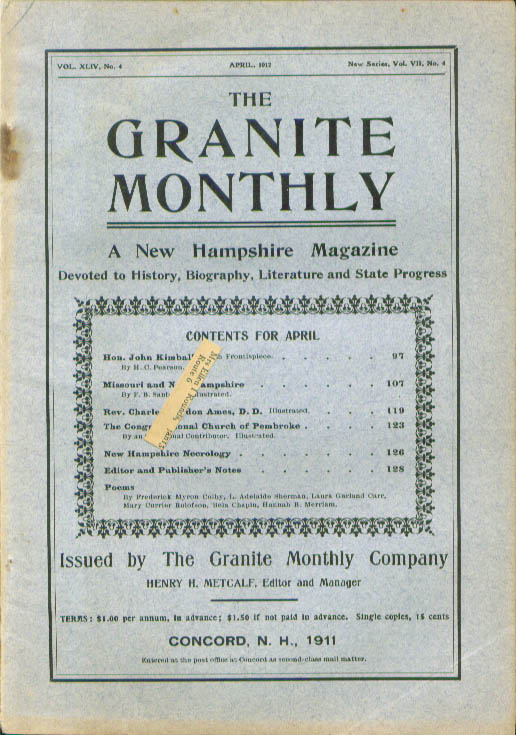 GRANITE MONTHLY John Kimball Charles Gordon Ames New Hampshire 4 1912