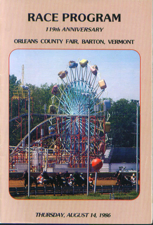 Orleans County Fair Barton Vermont Race Program 8/14/1986