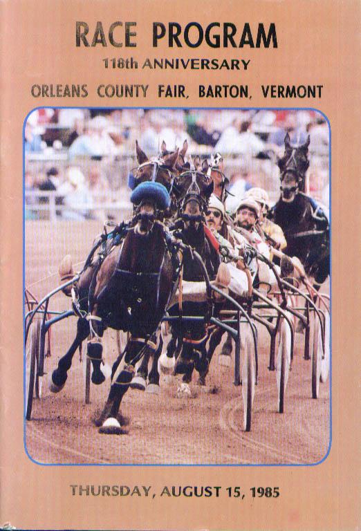 Orleans County Fair Barton Vermont Race Program 8/15/1985