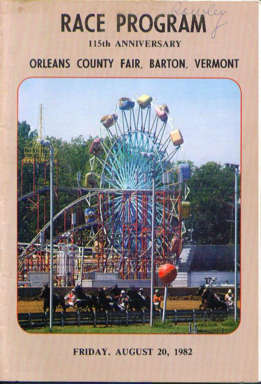 Orleans County Fair Barton Vermont Race Program 8/20/1982
