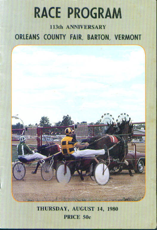 Orleans County Fair Barton Vermont Race Program 8/14/1980