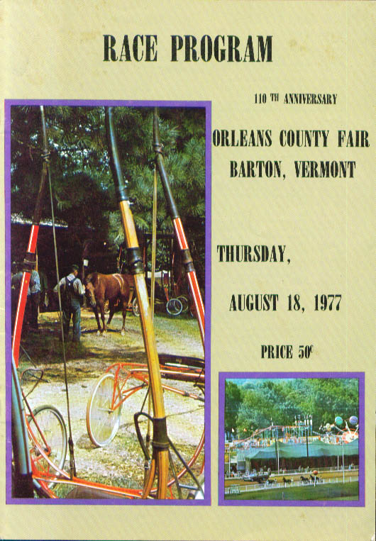 Orleans County Fair Barton Vermont Race Program 8/18/1977