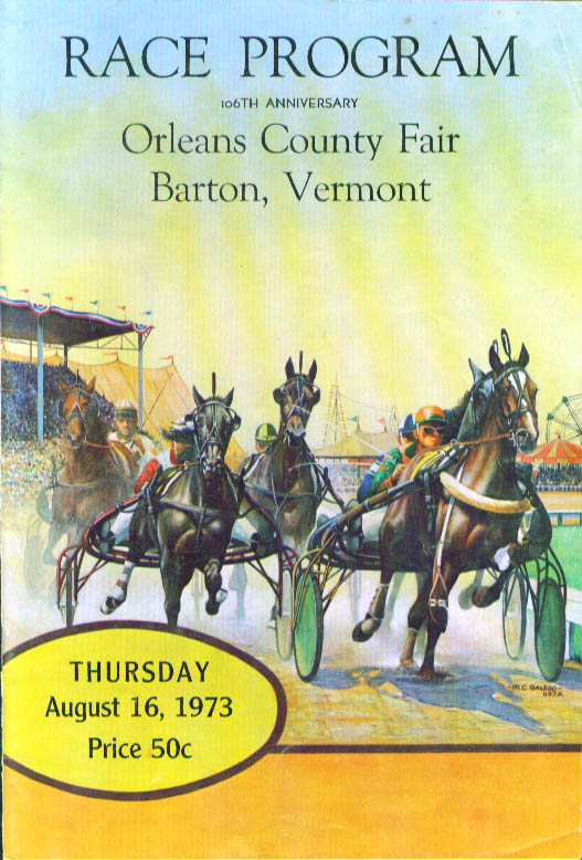 Orleans County Fair Barton Vermont Race Program 8/16/1973