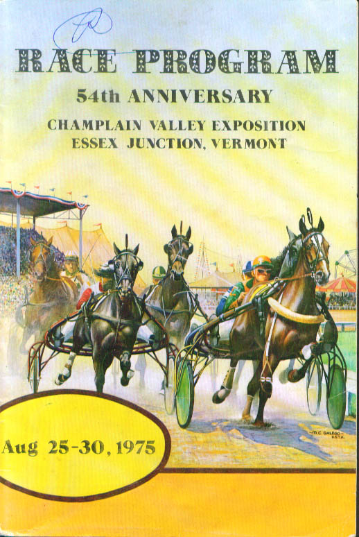 Champlain Valley Expo Essex Junction Vermont Race Program 1975