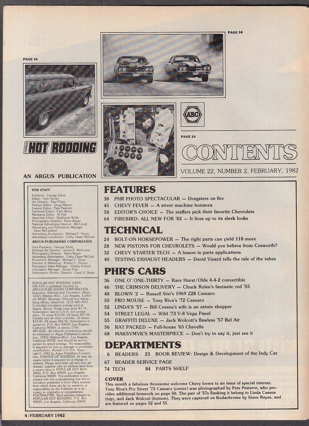 POPULAR HOT RODDING 1982 Firebird Trans-Am Chevy tech 2 1982