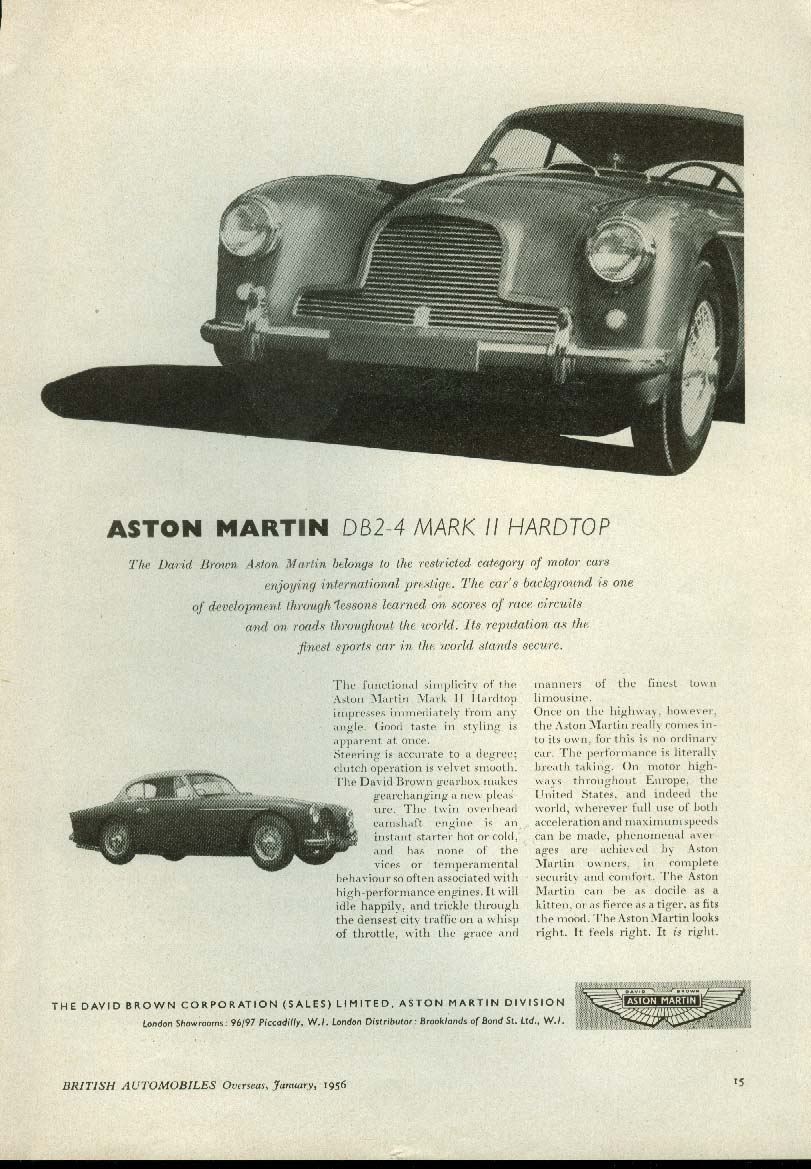 Aston Martin DB2-4 Mark II Hardtop ad 1956