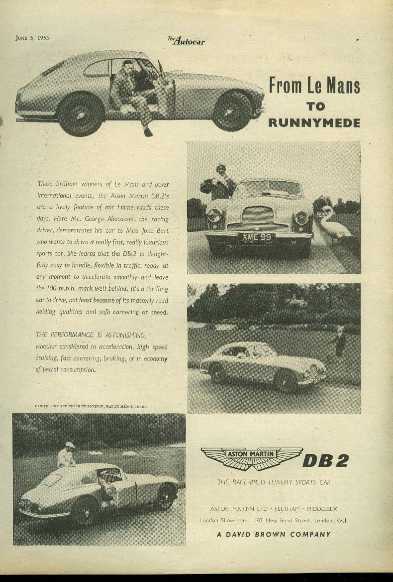 Image for From Le Mans to Runnymede Aston Martin DB-2 ad 1953