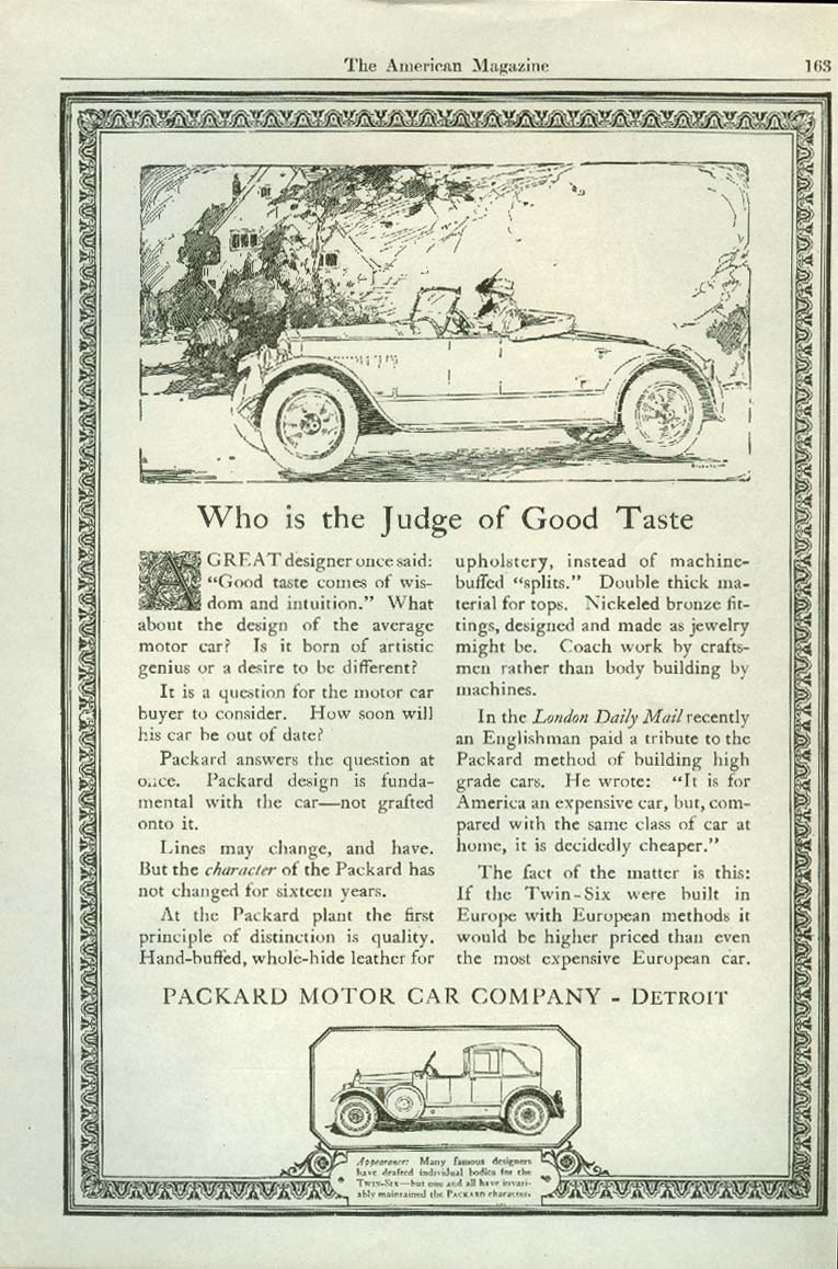 Who is the Judge of Good Taste Packard Roadster ad 1920