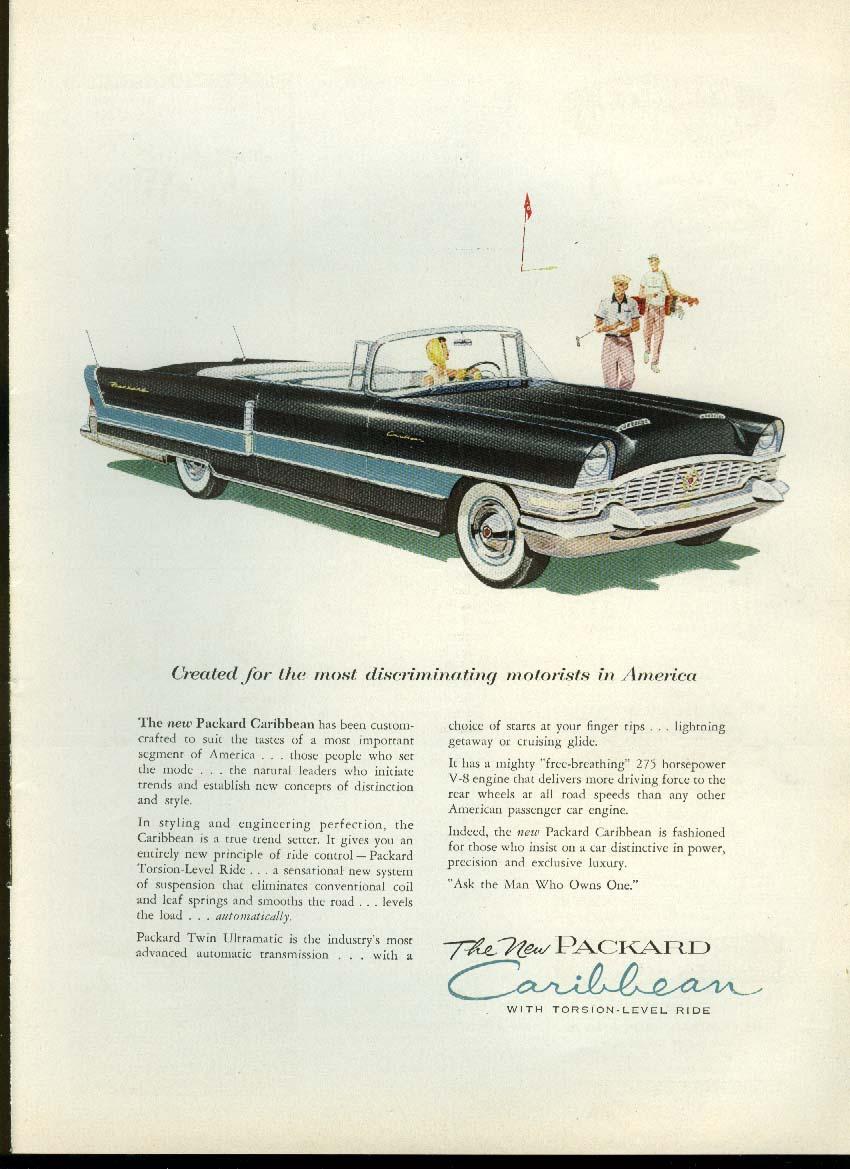 Discriminating Packard Caribbean Convertible / Woodard Wrought Iron ad 1955