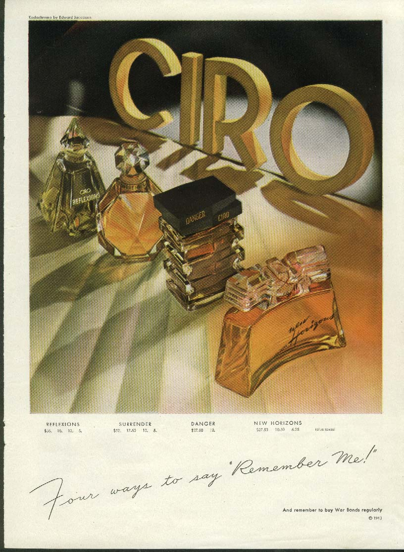 Ciro Remember Me perfumes / Have a Coca-Cola = You're home again ad 1943