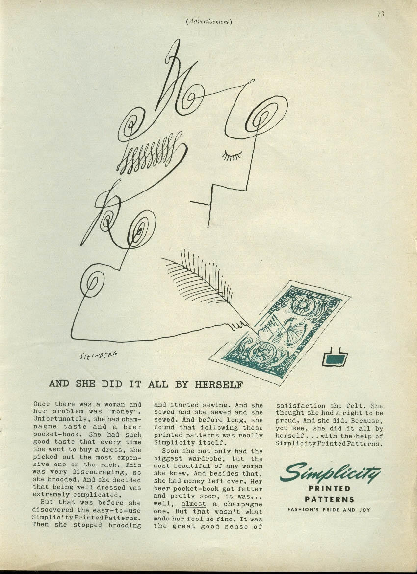 And she did it all herself counterfeiter Simplicity Patterns ad 1955 Steinberg