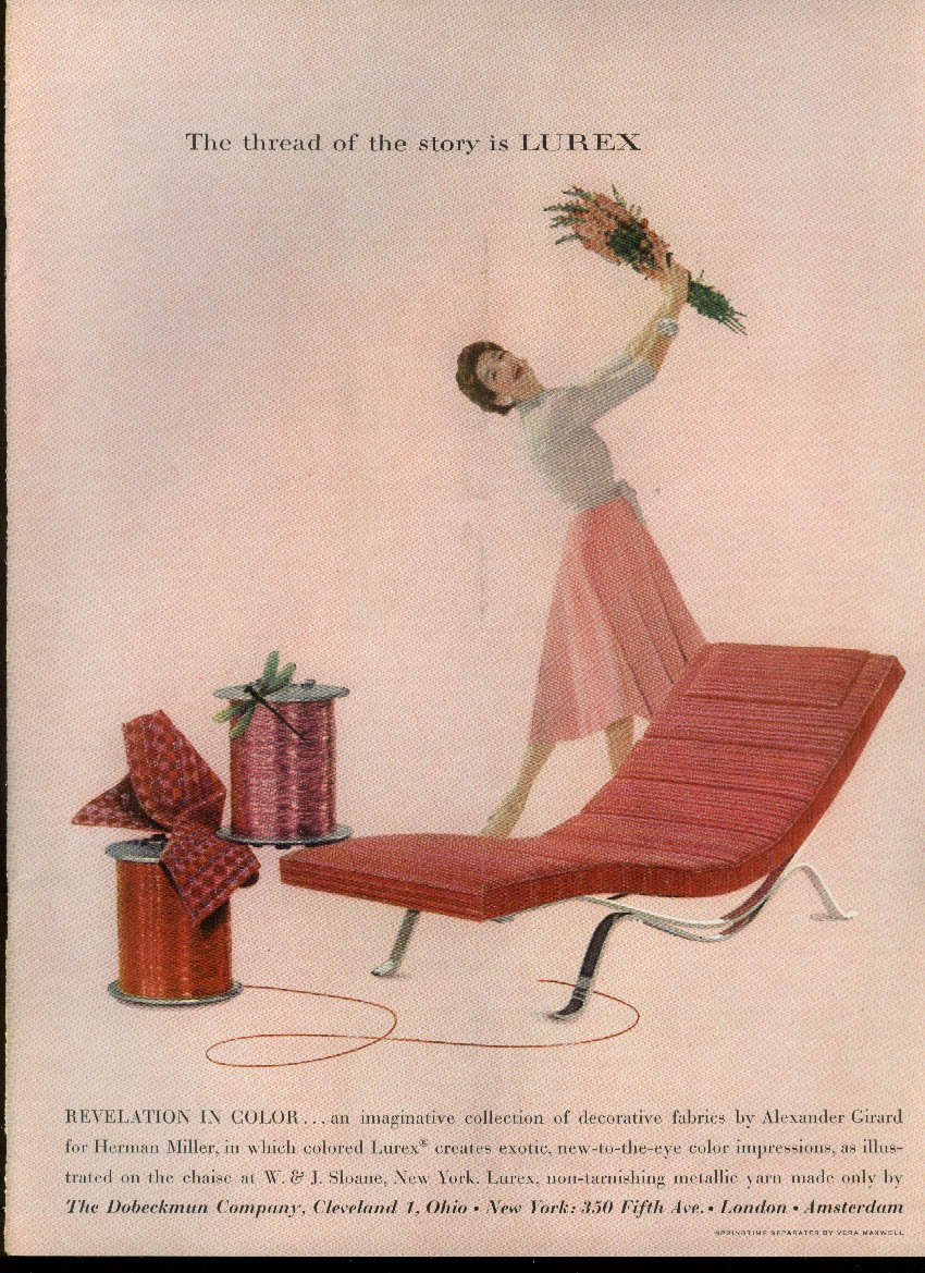 Revelation in Color Lurex fabric on Herman Miller chair ad 1955