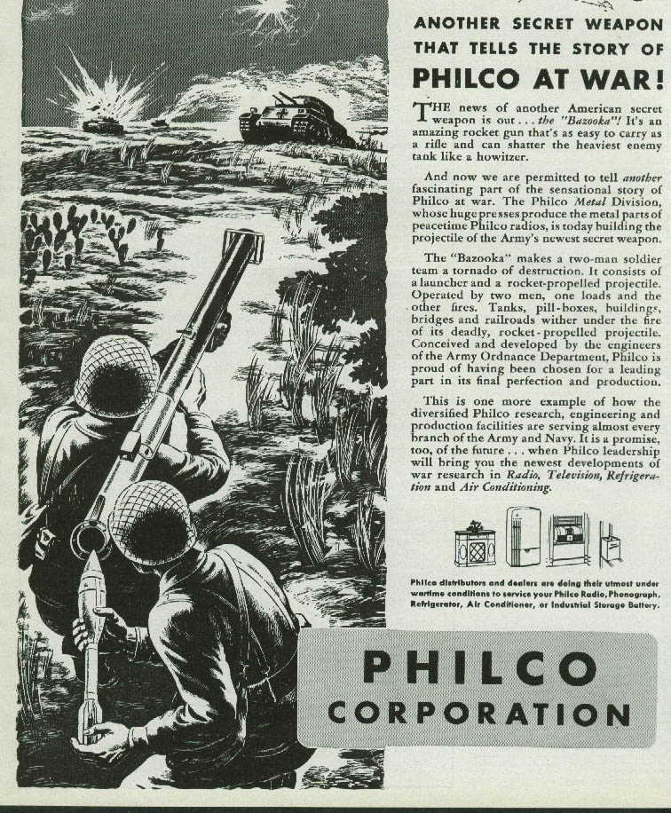 Bazooka! Another Secret Weapon tells the story of Philco At War ad 1943