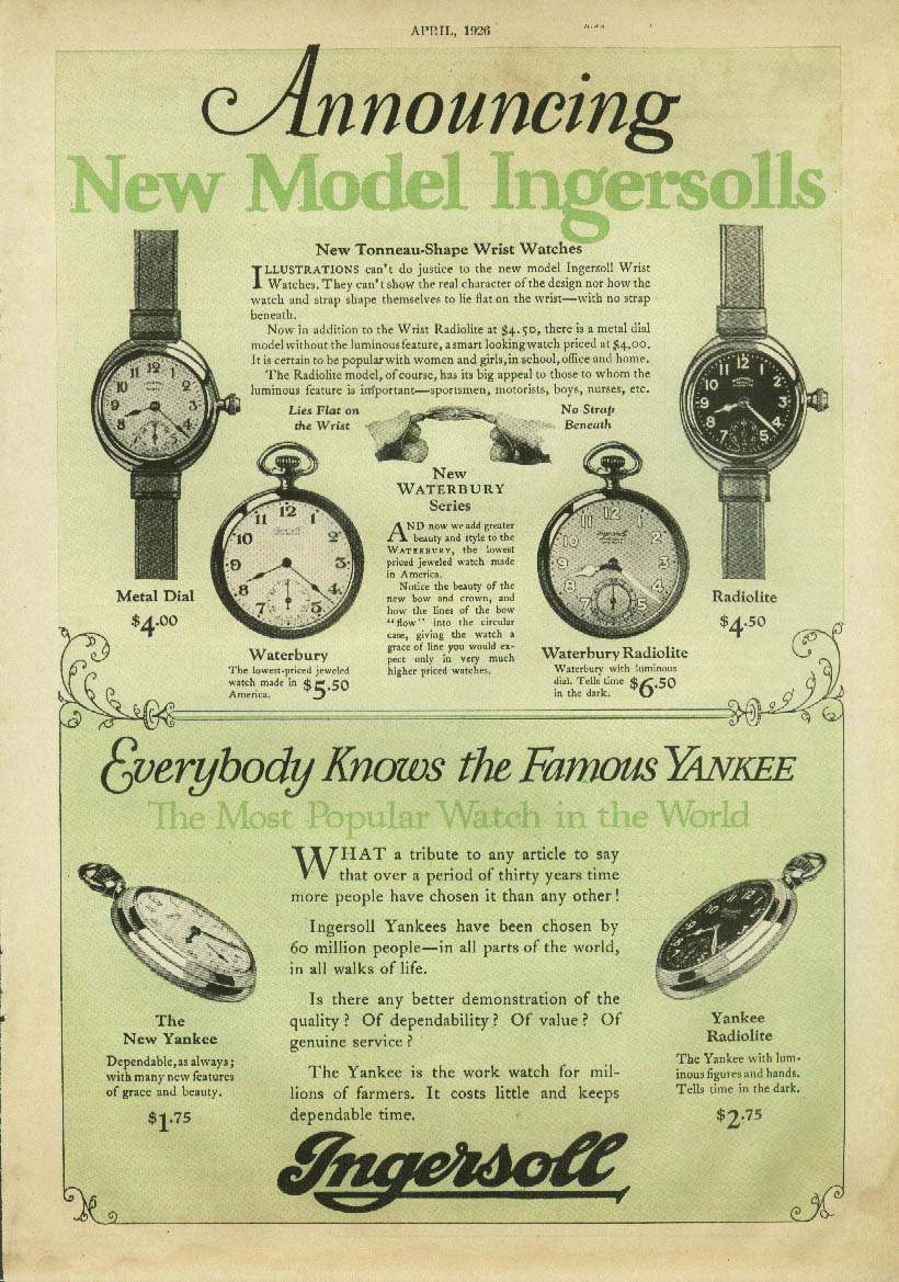 Announcing New Model Ingersoll pocket & wrist watches ad 1926