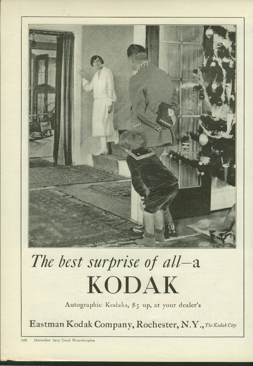Best Christmas Surprise of All a Kodak Camera ad 1925