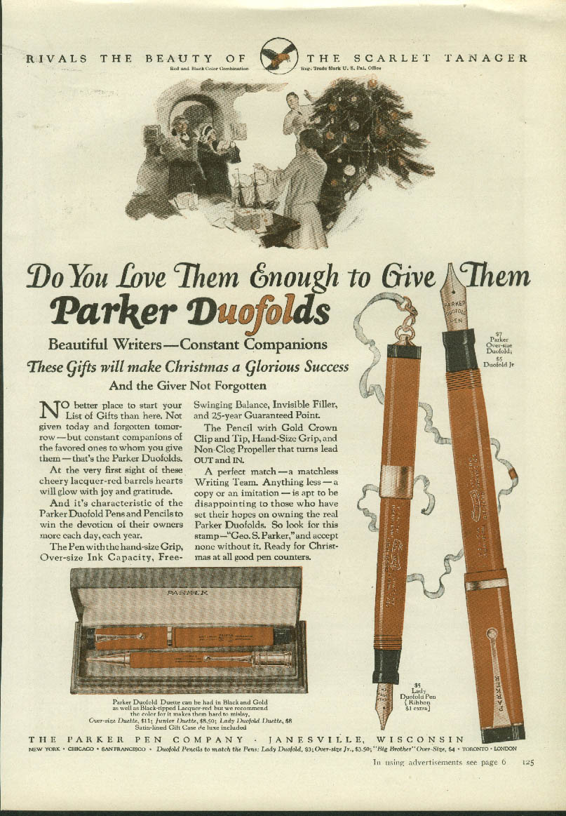 Do you love them enough to give them? Parker Duofold Pen ad 1925
