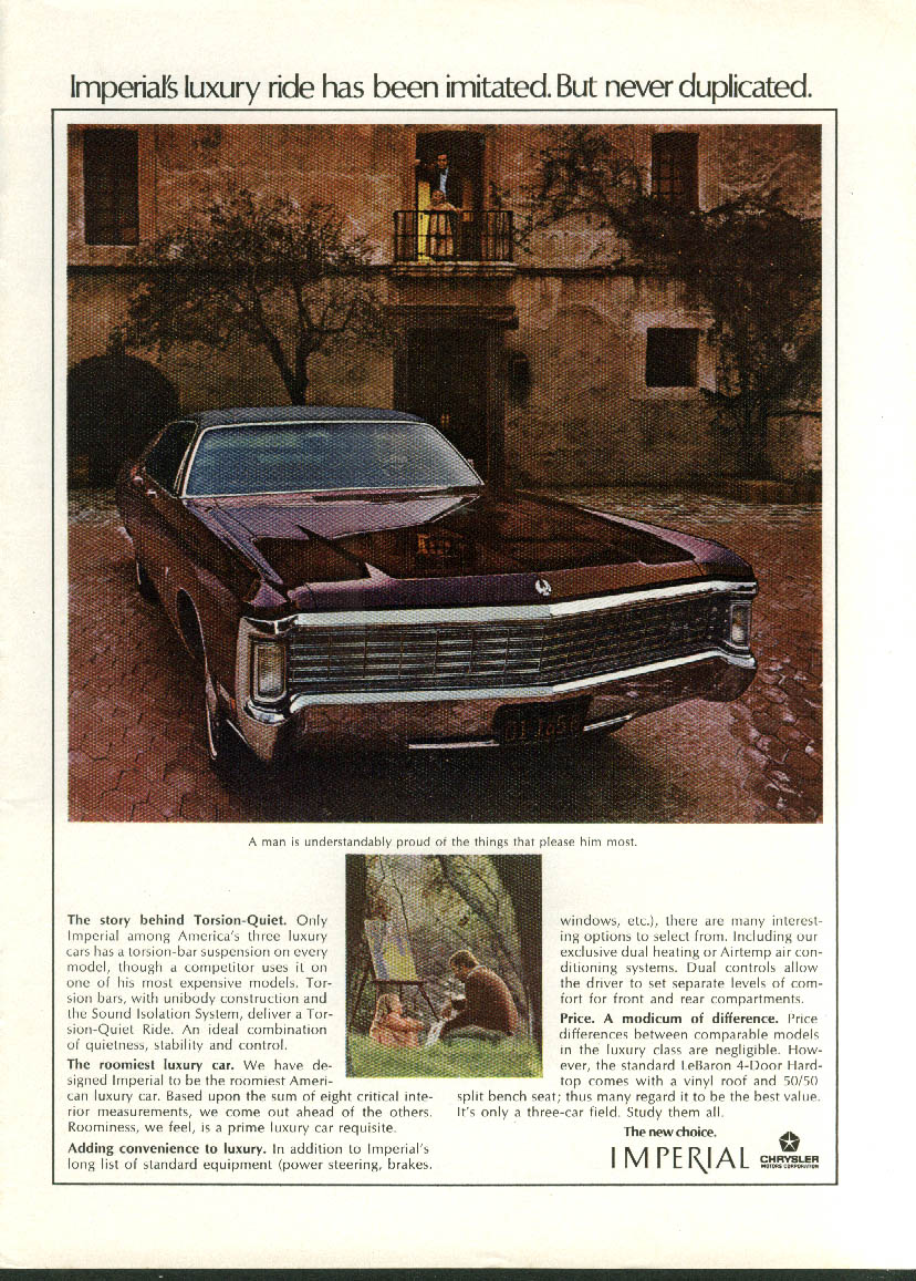 Image for Luxury ride imitated never duplicated Imperial by Chrysler ad 1970