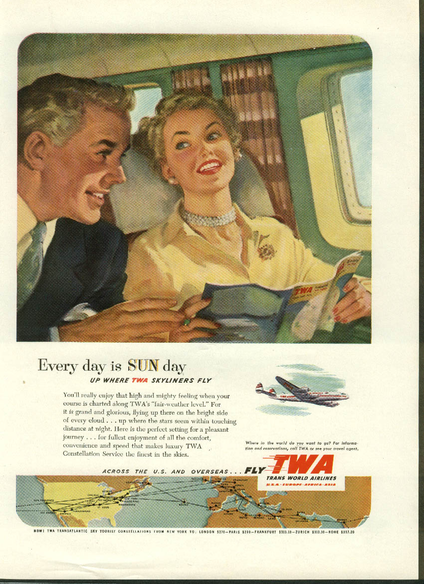 Every day is SUN day up where TWA Constellations fly ad 1952