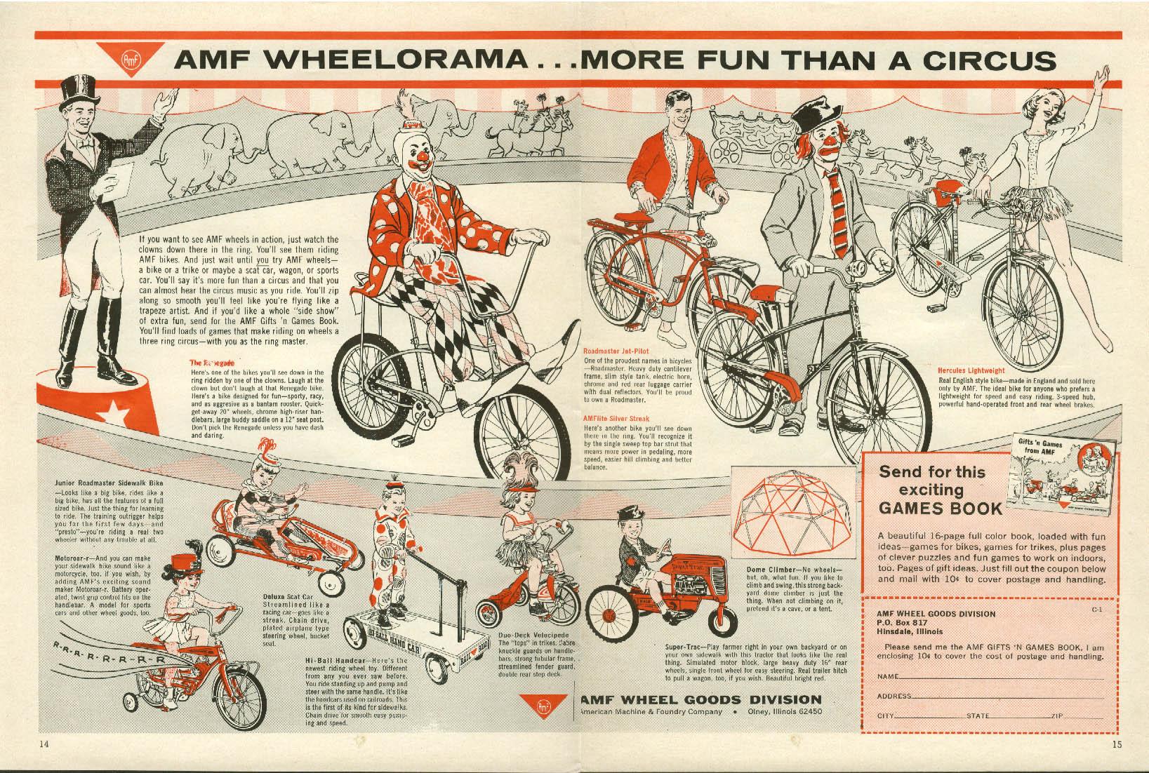 AMF Wheelorama More Fun Than A Circus bicycle pedal car ad 1965 clowns