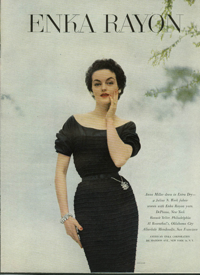 Ann Miller dress in Julius N Werk Enka Rayon fabric ad 1952 Scavullo photo