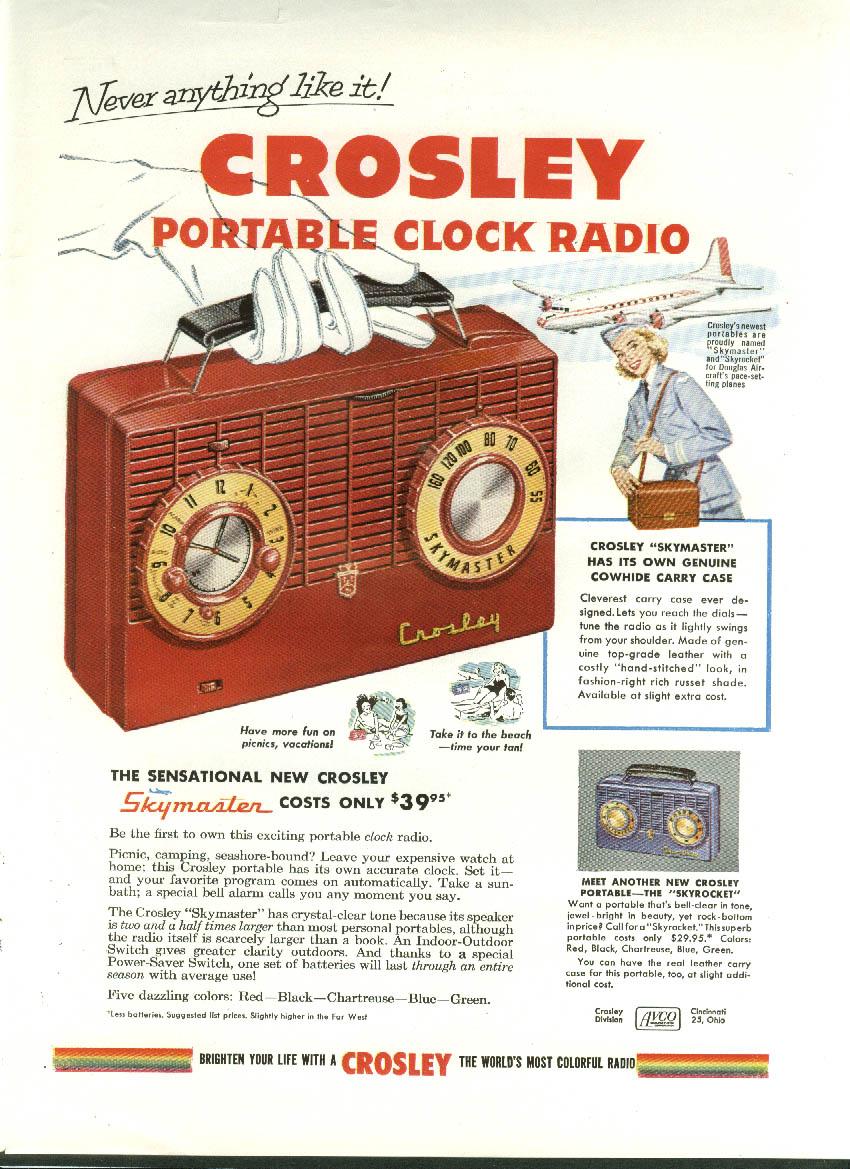Never anything like it! Crosley Portable Clock Radio Skymaster Skyrocket ad 1953