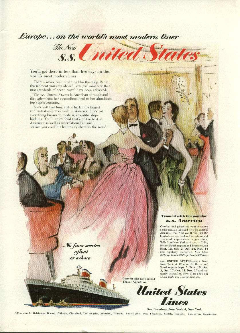 Europe on world's most modern liner S S United States ad 1952