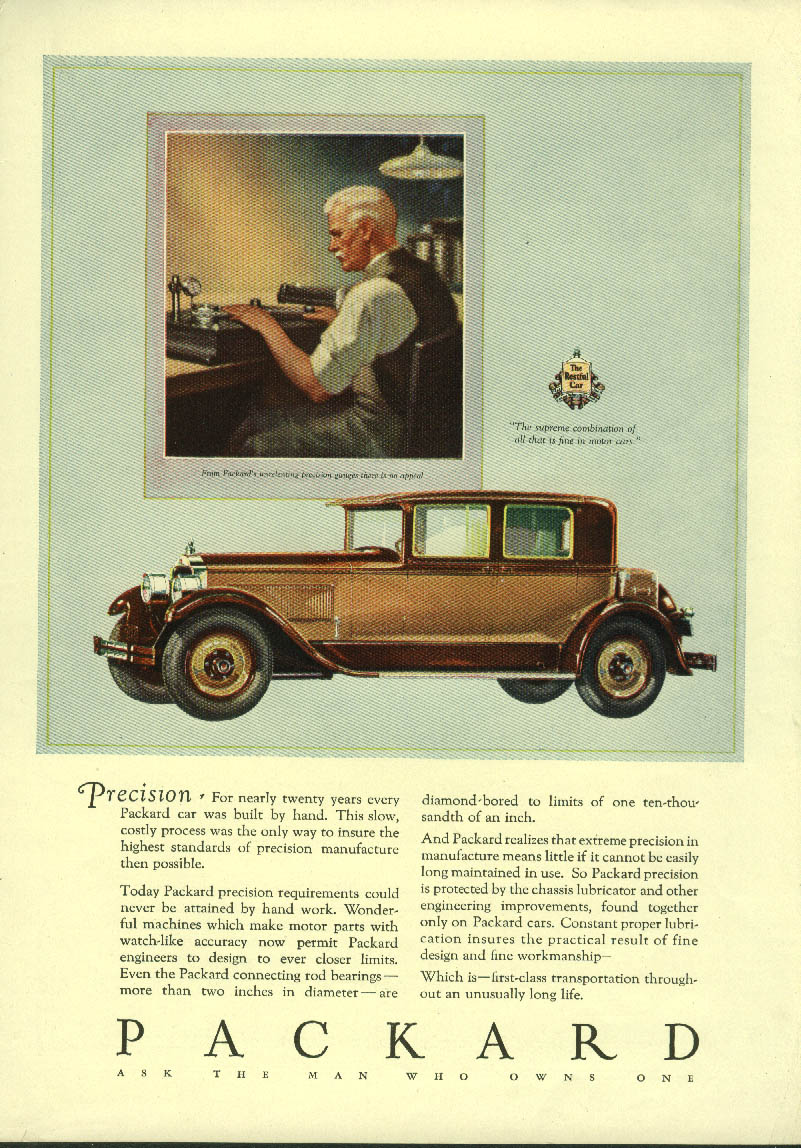 Precision - for nearly twenty years every car built by hand Packard ad 1927