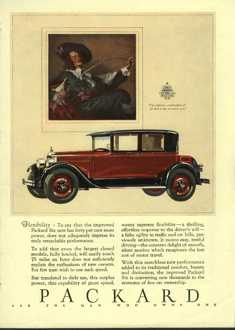 Flexibility - Forty per cent more power Packard Six ad 1927