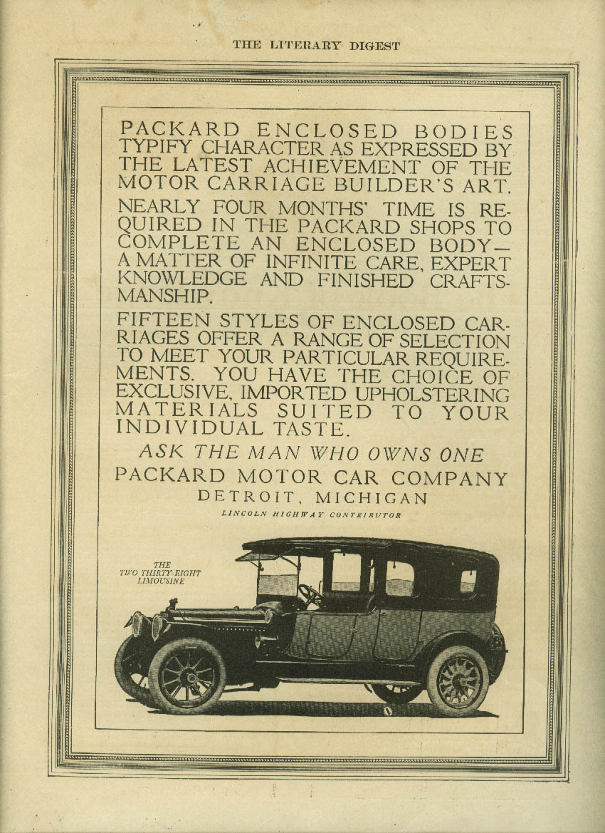 Packard Enclosed Bodies typify character Two Thirty-Eight Limousine ad 1913