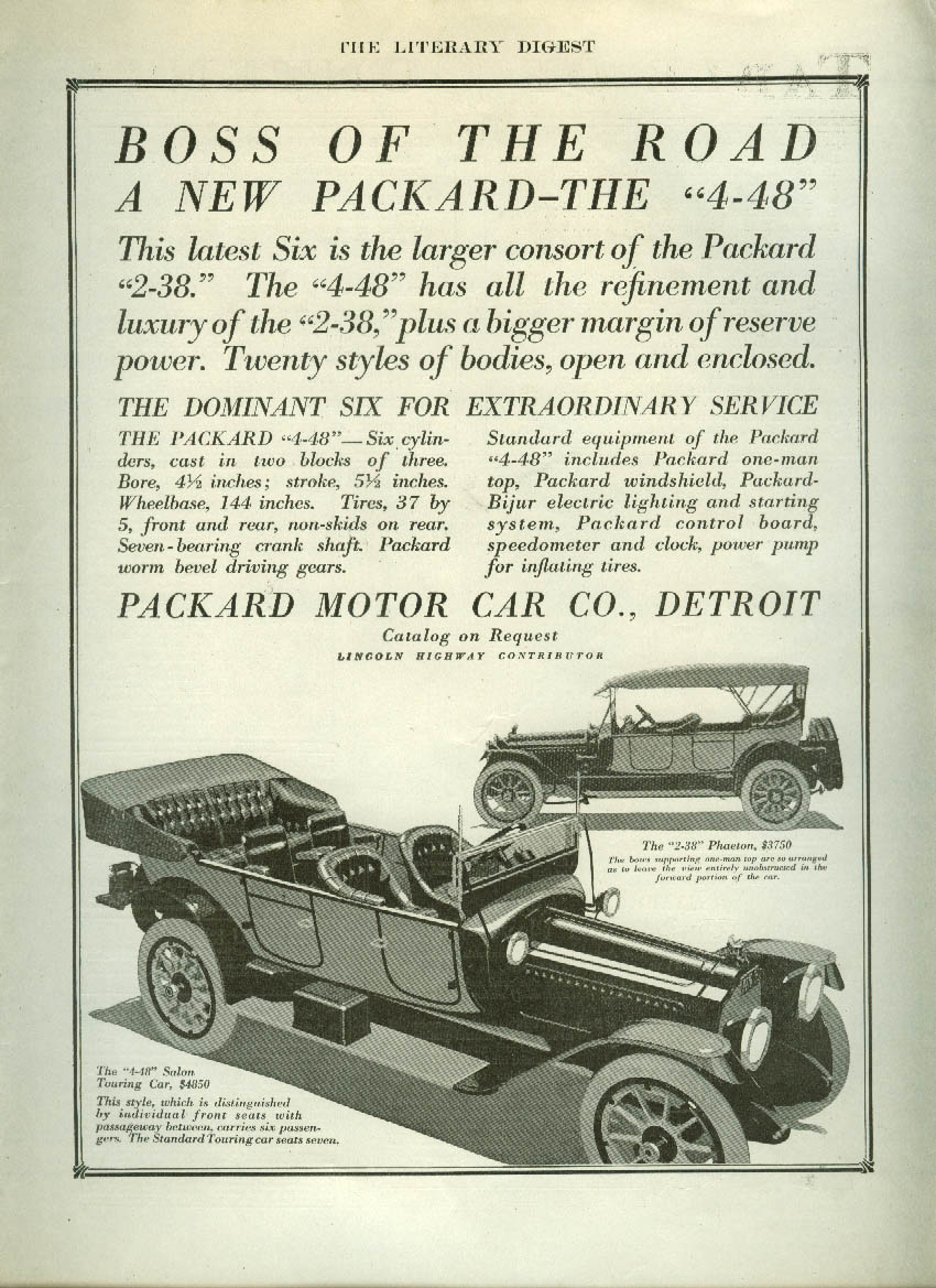 Boss of the Road the new Packard 4-48 Touring & Phaeton ad 1914