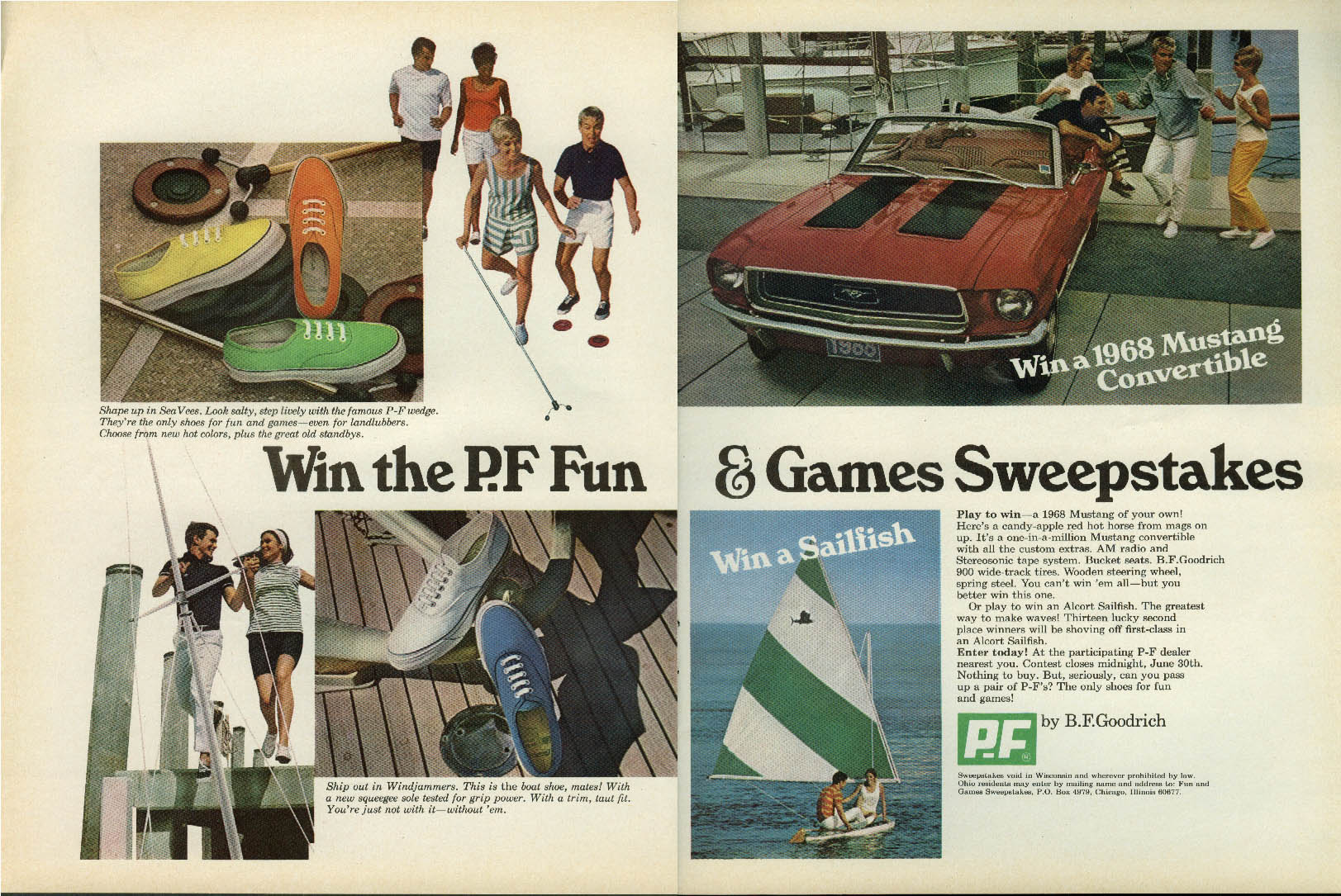 Image for Win the P. F. Fun & Games Sweepstakes ad 1968 Mustang Convertible Sailfish +