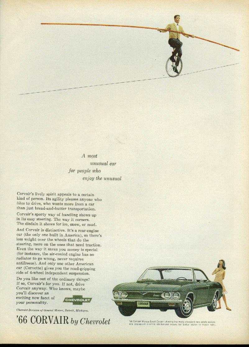 A most unusual car Corvair Monza Sport Coupe ad 1966 unicycle on high wire
