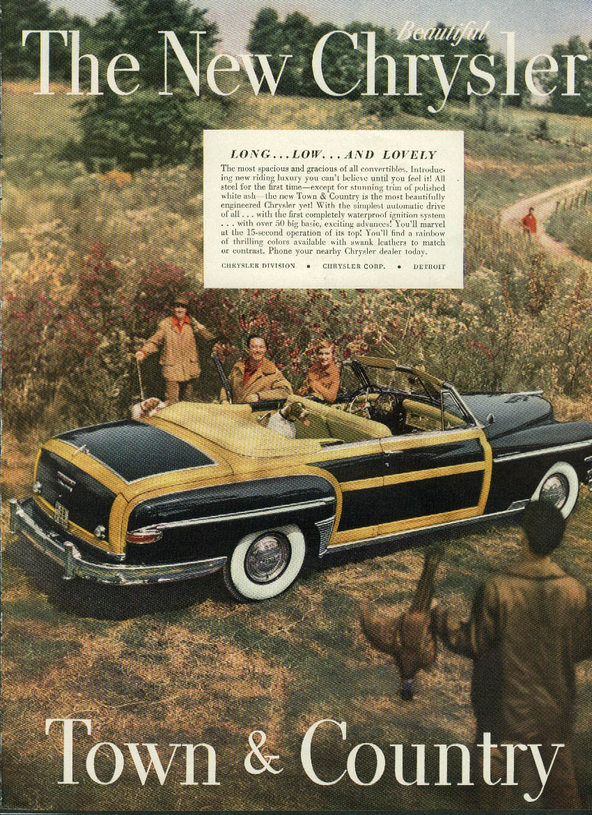 Image for Long low & lovely New Chrysler Town & Country Convertible ad 1949