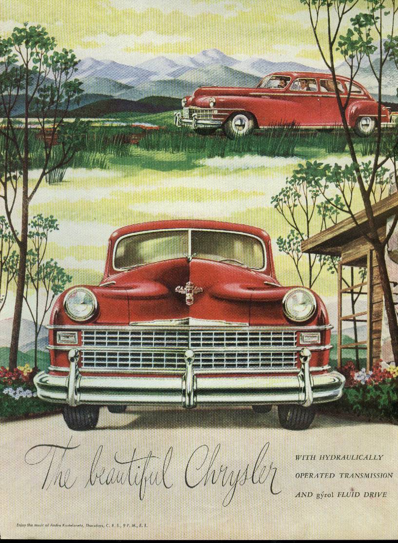 Image for The beautiful Chrysler Gyrol Fluid Drive ad 1946 red sedan