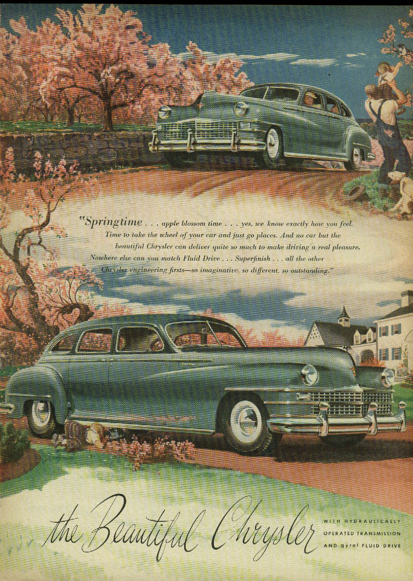 Image for Discovery - like a friend who wears well Chrysler ad 1947 green sedan