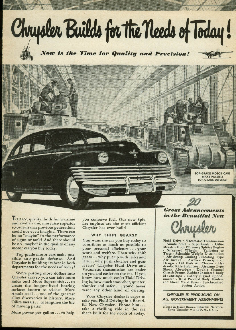 Image for Chrysler Builds for the Needs of Today! Ad New Yorker & Army Tanks 1942