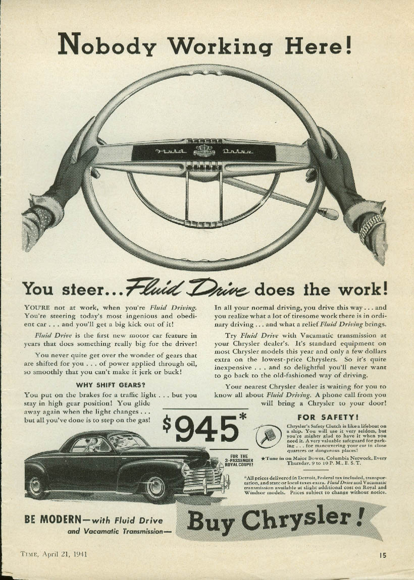 Image for Nobody Working Here! Chrysler Fluid Drive ad 1941 Royal Business Coupe