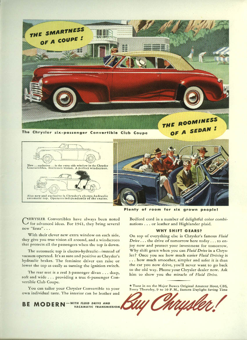 Image for The smartness of a coupe! The roominess of s sedan! Chrysler Convertible ad 1941