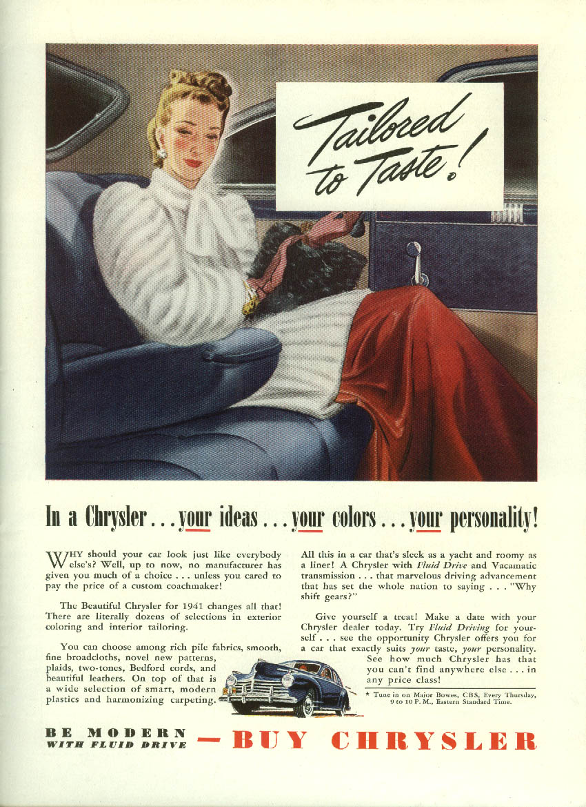Image for Tailored to Taste! Your ideas colors personality Chrysler ad 1941
