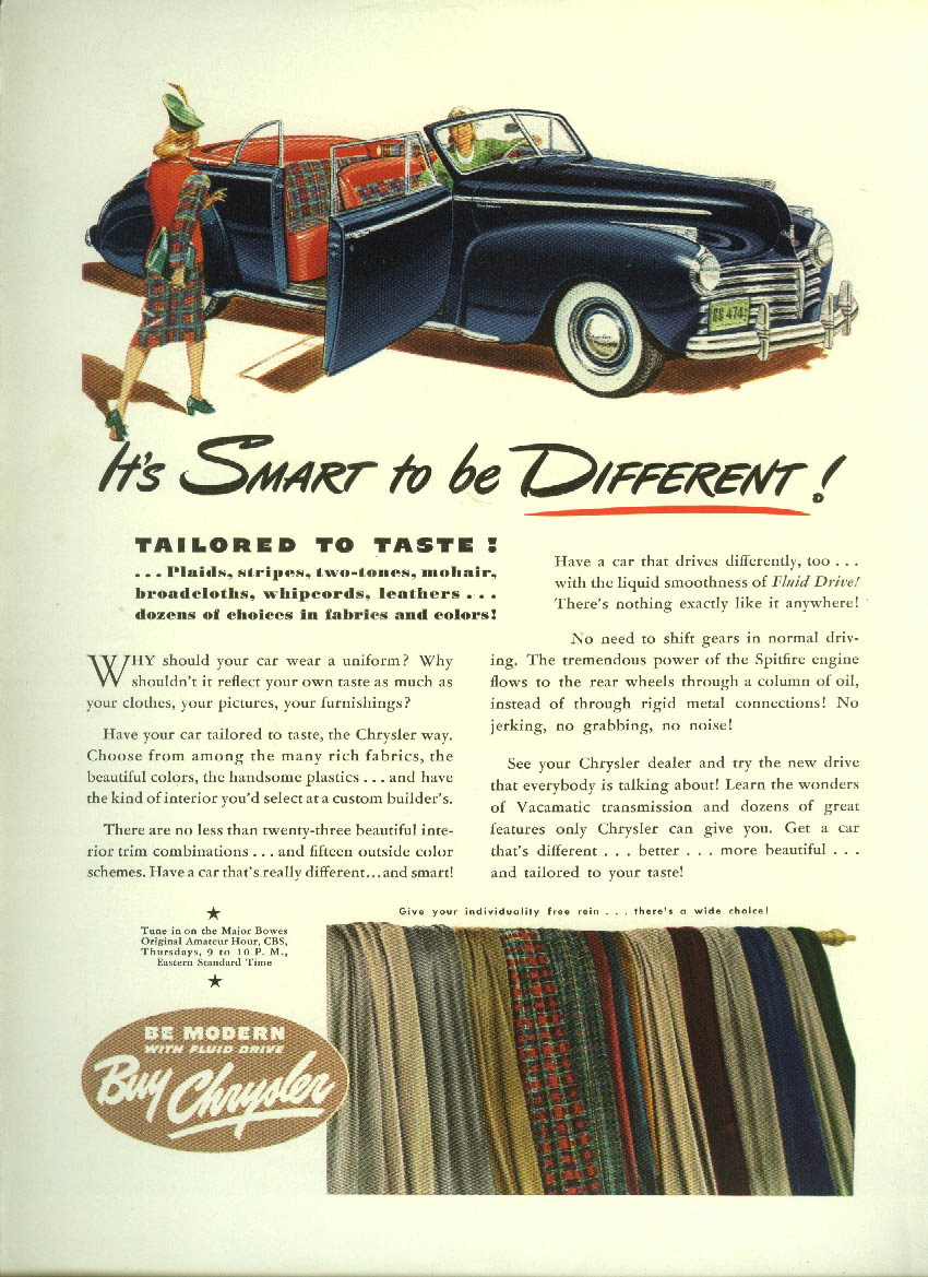 Image for It's smart to be different! Chrysler Highlander Convertible ad 1941