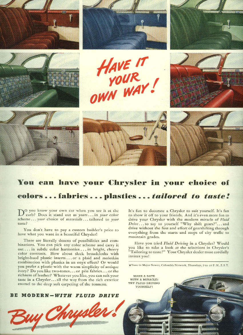 Image for Have it your own way! Colors fabrics plastics Chrysler ad 1941