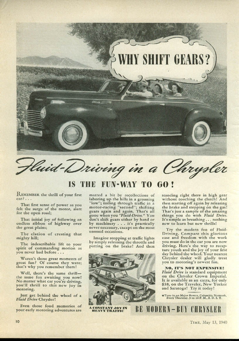 Image for Why shift gears? Fluid-driving in a Chrysler Convertible ad 1940