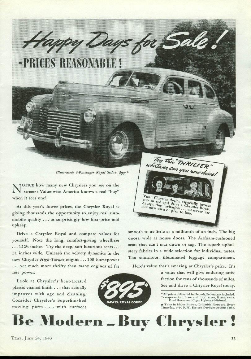 Image for Happy Days for Sale! Chrysler Royal Sedan ad 1940