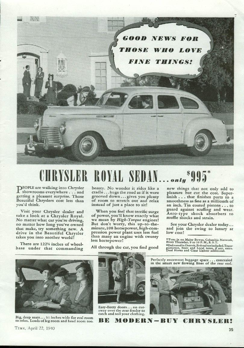 Image for Good news for those who love fine things! Chrysler Royal Sedan ad 1940