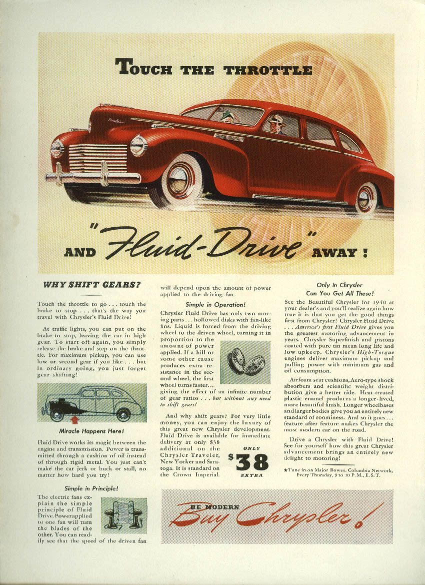 Image for Touch the Throttle and Fluid-Drive away! Chrysler ad 1940