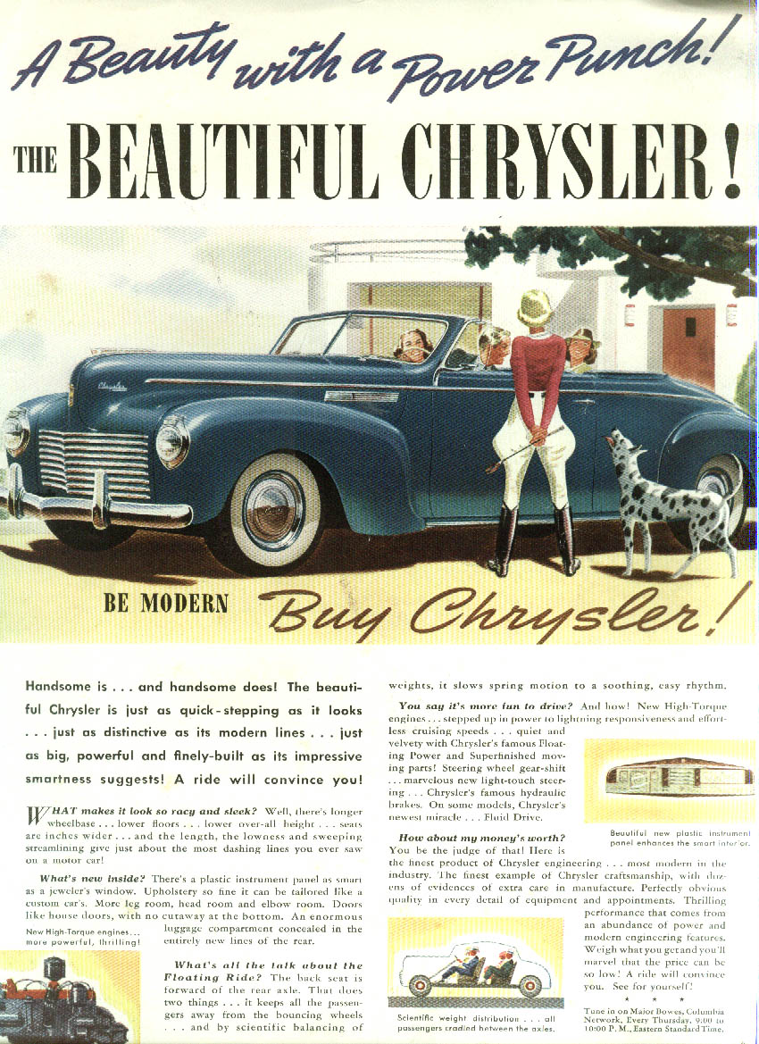 A Beauty with a Power Punch! The Beautiful Chrysler Convertible ad 1940
